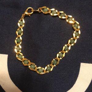 Avon Vintage Goldtone Twist Bracelet Green Gems